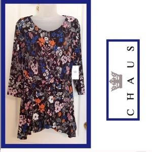 CHAUS Top Black Blue Gathered Cross Waist NWT